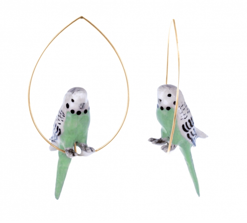 Porcelain Green Bird Round Hoop-Nach-Bristle by Melissa Simmonds