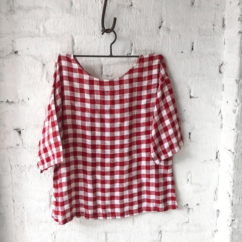 Jane Top Gingham Red