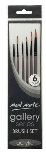 Gallery Series Brush Set Acrylic 6pce-Mont Marte-Bristle by Melissa Simmonds