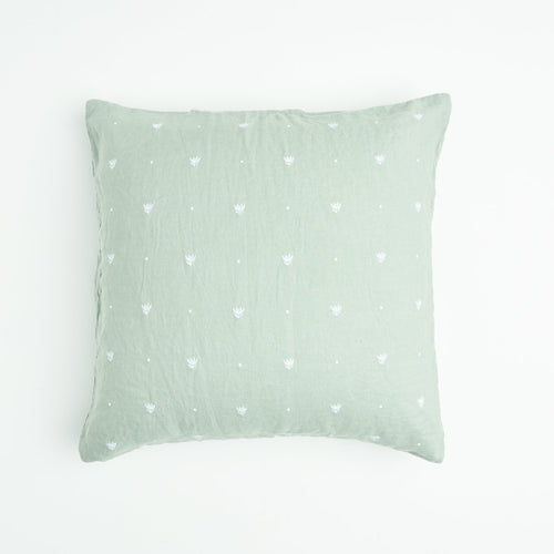 Wasabi Embroidered EuroPillow cases-Society of Wanderers-Bristle by Melissa Simmonds