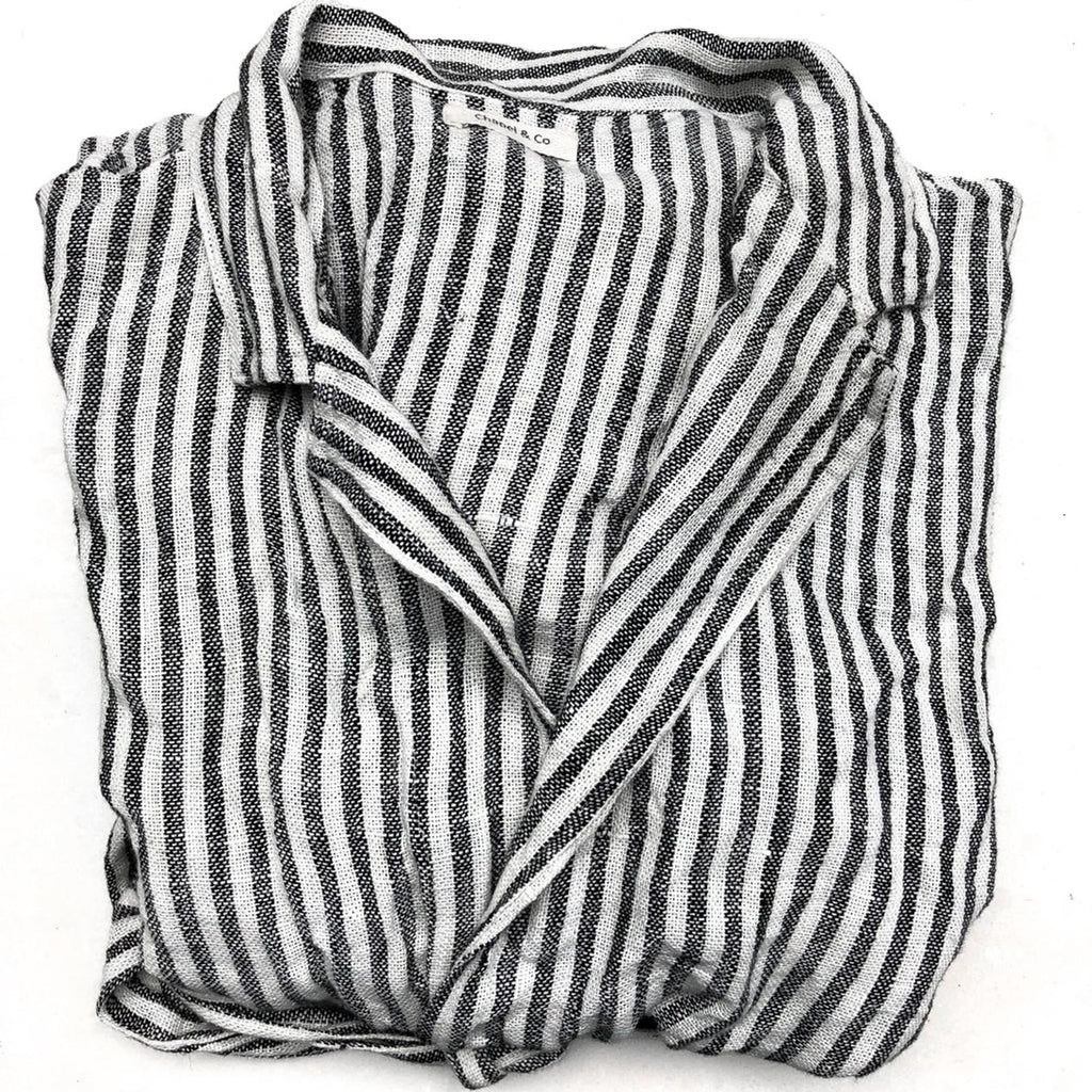 Linen Robe - Wide Black and White Stripes