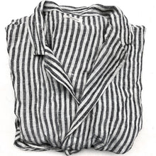 Load image into Gallery viewer, Linen Robe - Wide Black and White Stripes