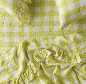 Queen Flat Ruffle Sheet - Limoncello Gingham-Blanket/Throw-Society of Wanderers-Bristle by Melissa Simmonds