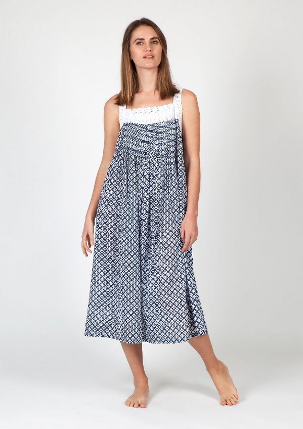 Arabella Block Printed Nightie - Navy Pattern-Arabella-Bristle by Melissa Simmonds