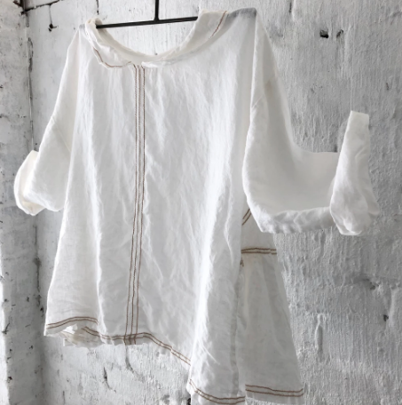 Audrey Linen Top - Natural Stitching