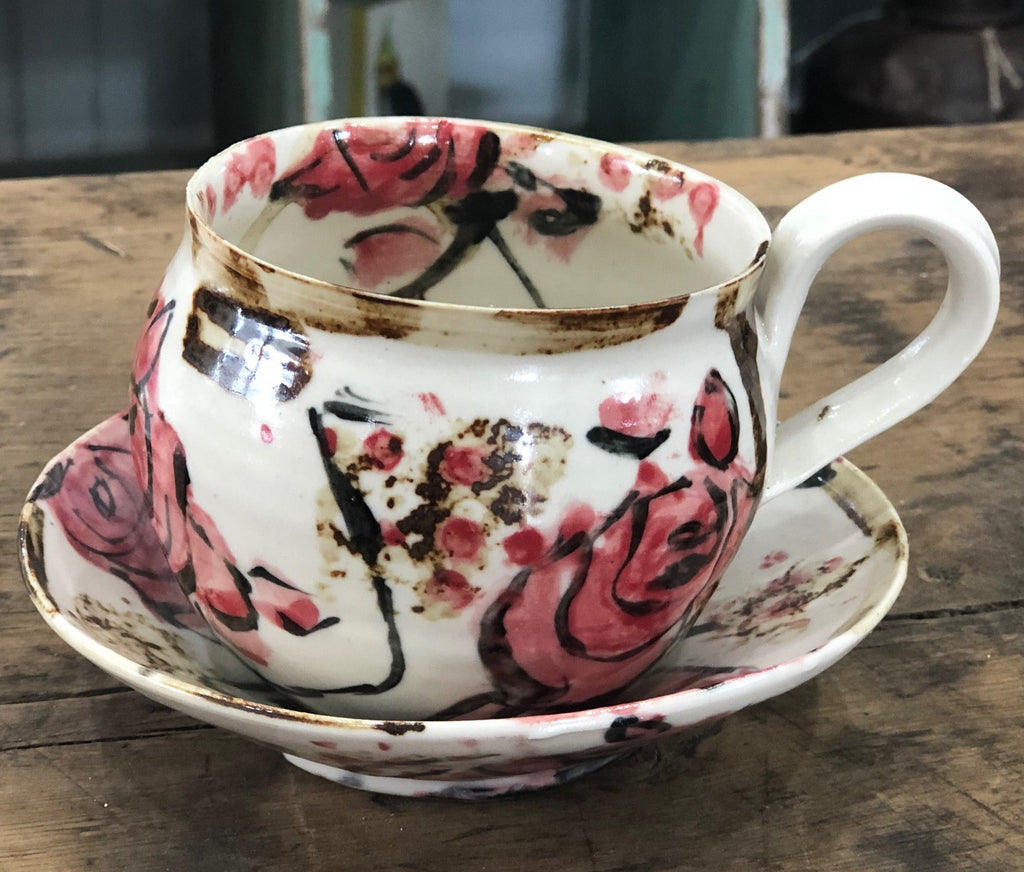 Rose Mug with Saucer (Red/Pink)