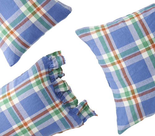 Cornflower Check Pillowcase-Society of Wanderers-Bristle by Melissa Simmonds
