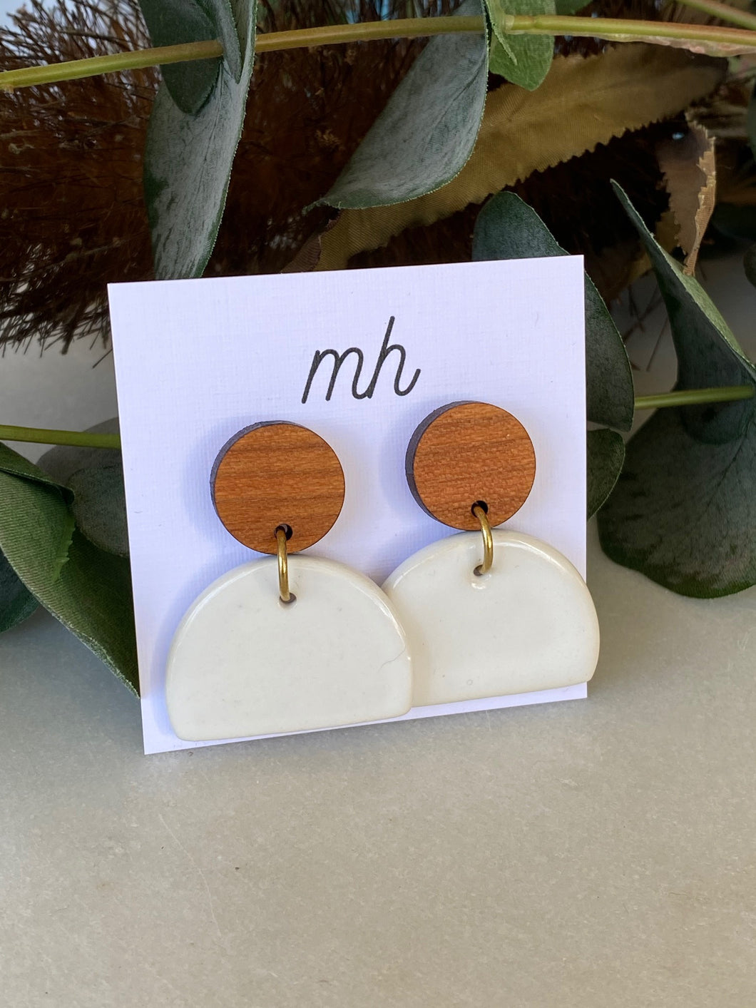 MH Ceramic Earrings -Porcelain/Wooden Large White half circle-Melanie Hardy-Bristle by Melissa Simmonds
