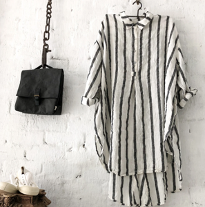Harper White and Charcoal Stripe Shirt/Dress-Meg by Design-Bristle by Melissa Simmonds