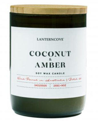 Jade Soy Wax Candle - Coconut & Amber