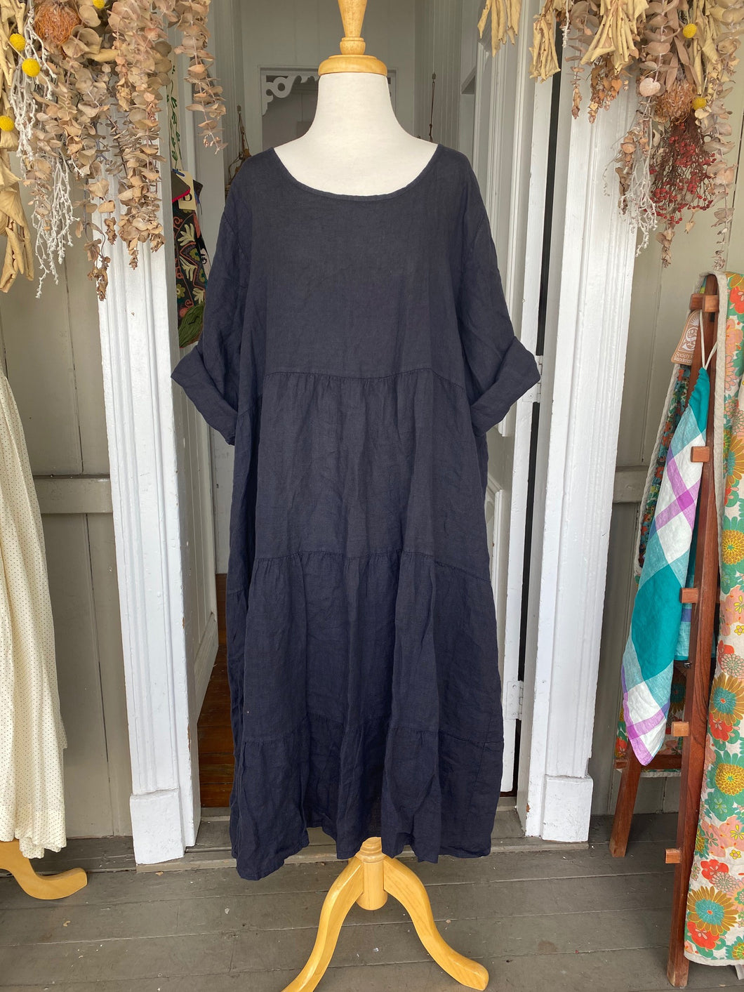 Stella Linen Dress - Navy-Clothing-DiModa-Bristle by Melissa Simmonds