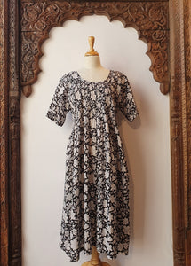 Arabella Block Printed Nightie, short sleeves - Ink Floral-Arabella-Bristle by Melissa Simmonds