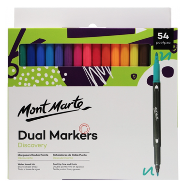 Discovery Dual Tip Markers 54pce-Mont Marte-Bristle by Melissa Simmonds