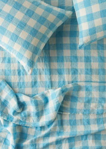 Queen Fitted Sheet - Ocean Blue Gingham-Society of Wanderers-Bristle by Melissa Simmonds