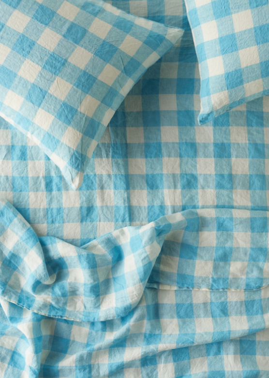 Queen Flat Sheet - Ocean Blue Gingham-Society of Wanderers-Bristle by Melissa Simmonds