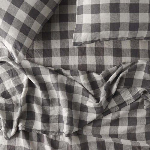 Licorice Gingham Flat Sheet-Society of Wanderers-Bristle by Melissa Simmonds