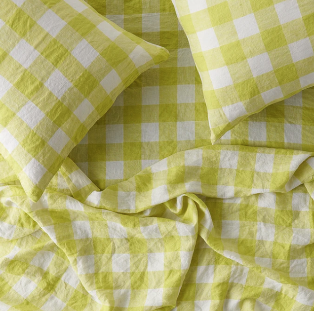 King Flat Sheet - Limoncello Gingham-Blanket/Throw-Society of Wanderers-Bristle by Melissa Simmonds