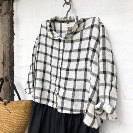 Avery Linen Shirt - Black and White Grid-Clothing-Meg by Design-Bristle by Melissa Simmonds