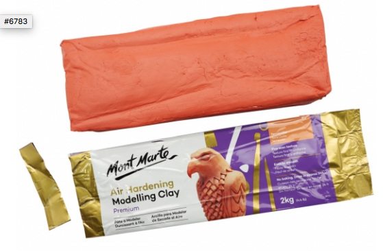 Air Hardening Modelling Clay - Terracotta 2kg (4.4lb)-Mont Marte-Bristle by Melissa Simmonds