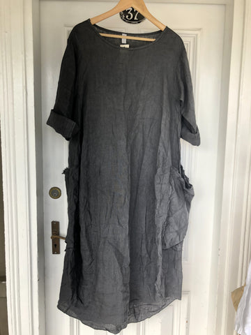 Frayed Pocket Linen Dress - Charcoal