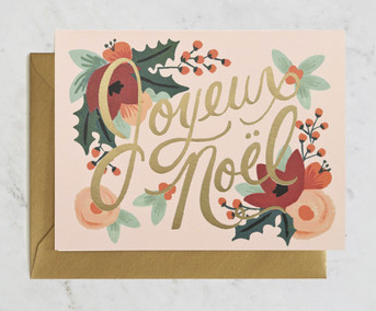 Rifle Paper Co Boxed Card Set - Joyeux Noel-Telegram Co-Bristle by Melissa Simmonds