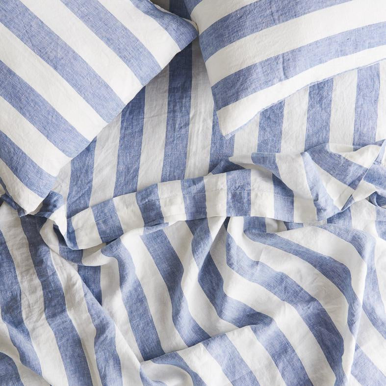 Queen Flat Sheet (Chambray Stripe)
