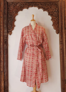 Arabella Dressing Gown Red/Pink Floral