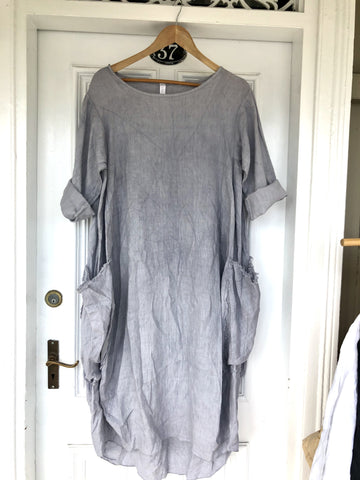 Frayed Pocket Linen Dress - Light Grey