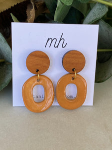 MH Porcelain Earrings - Medium Bamboo Disc with Turmeric Hoops-Melanie Hardy-Bristle by Melissa Simmonds