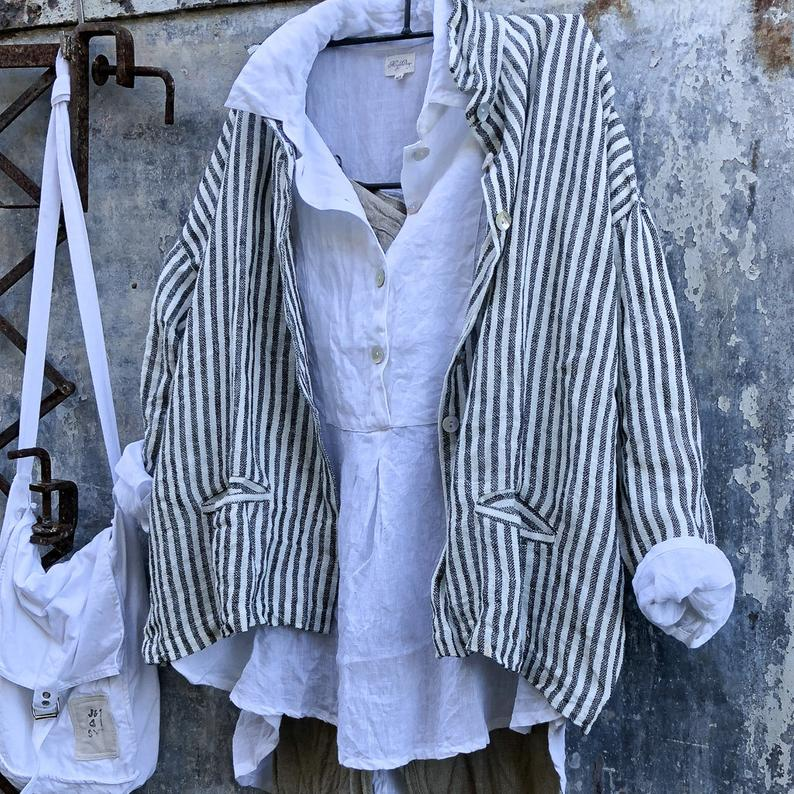 Pieta Linen Shirt - Black and White Striped-Meg by Design-Bristle by Melissa Simmonds