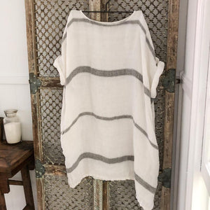 Avalon Grey Stripe Herringbone Linen Dress