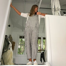 Load image into Gallery viewer, Dungarees Linen Black and White Stripe