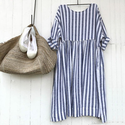 Sarah Blue and White Stripe Linen Dress