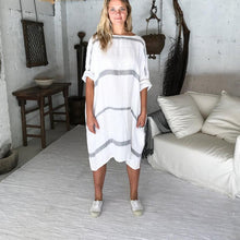 Load image into Gallery viewer, Avalon Grey Stripe Herringbone Linen Dress