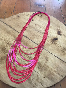 SI Illusion Long Necklace Fuchsia/Orange-Mingk-Bristle by Melissa Simmonds
