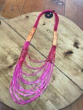 Load image into Gallery viewer, SI Illusion Long Necklace Fuchsia/Orange-Mingk-Bristle by Melissa Simmonds