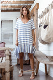 Alice Dress - Charcoal Stripe