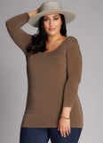 Bamboo 3/4 Sleeve Scoop Neck Top