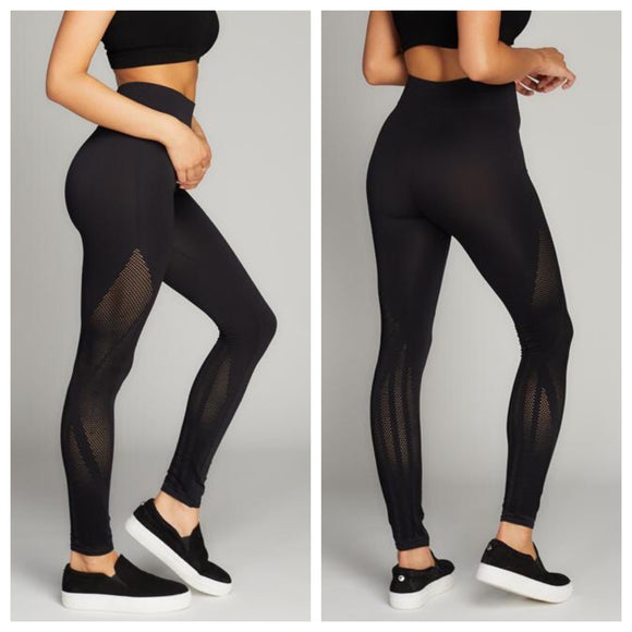 Nylon Compression Leggings with Mesh
