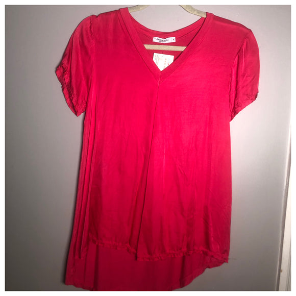Silk & Satin V-neck T-shirt