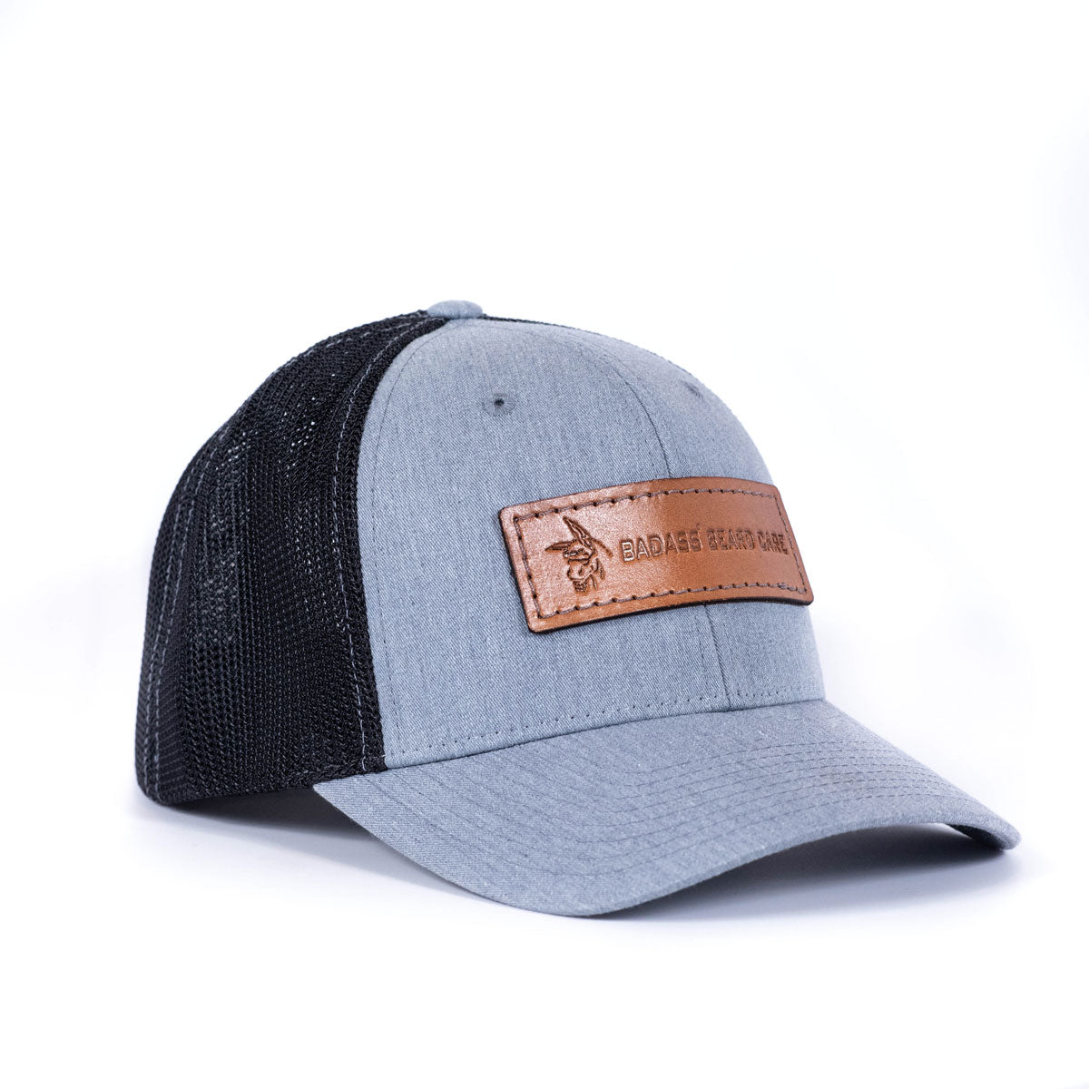 Badass Leather Patch Hat - Grey