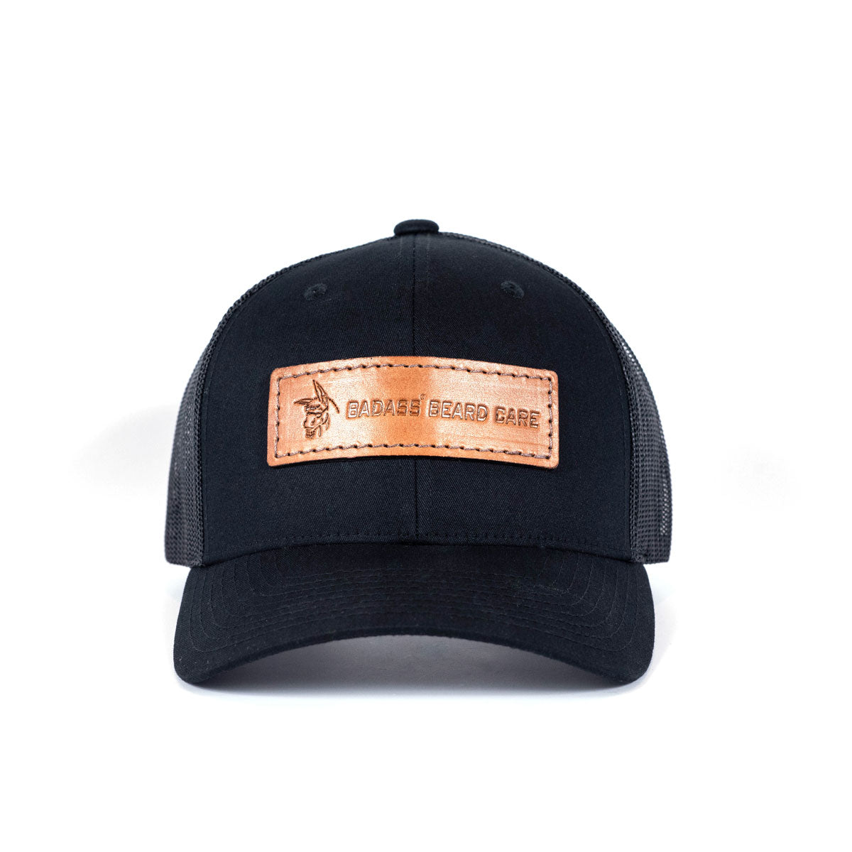 Badass Leather Patch Hat - Black