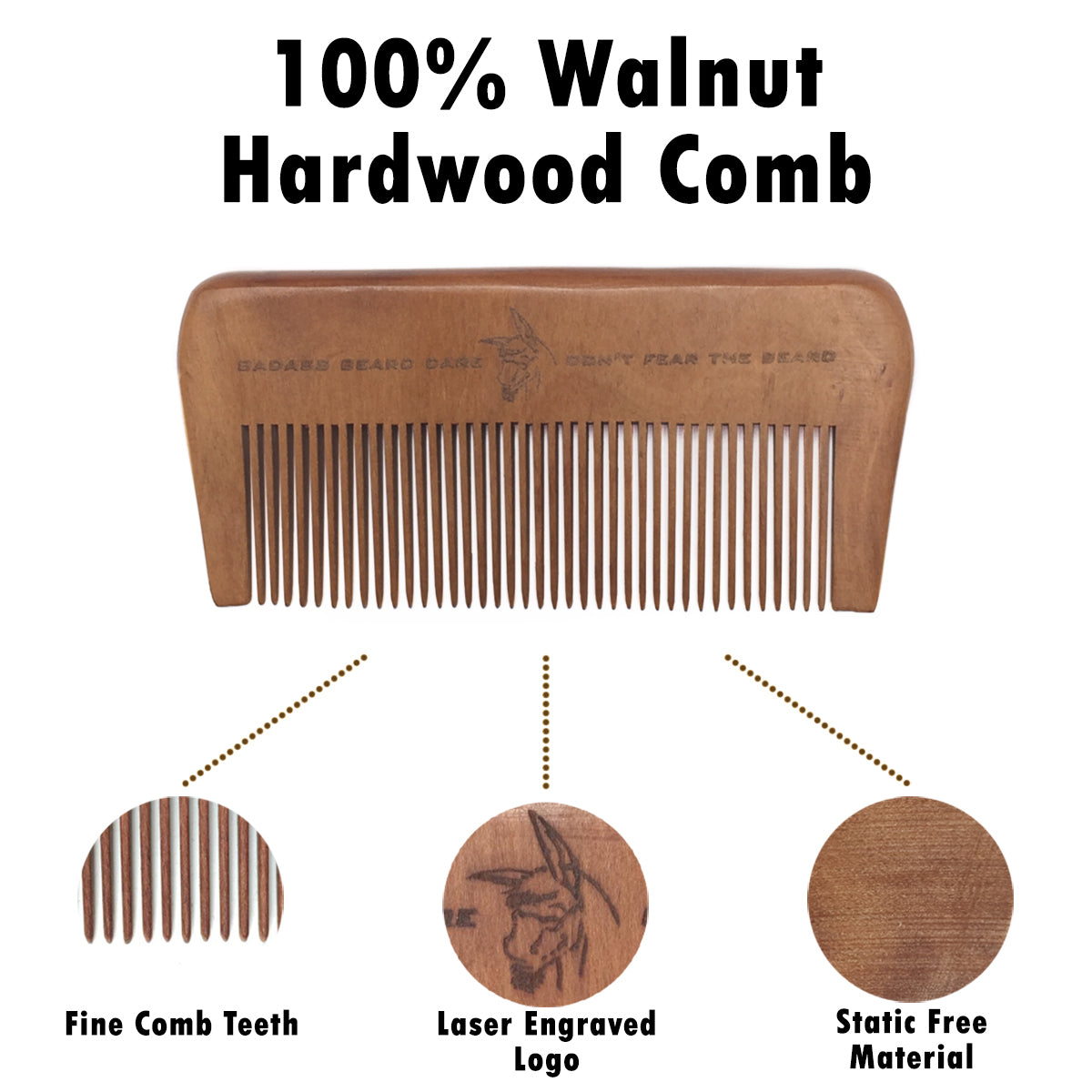 Badass Wood Beard Comb