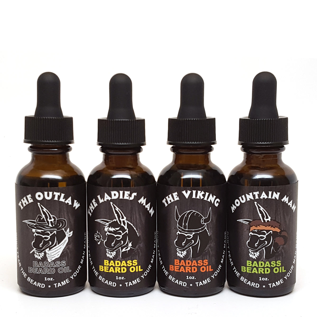 beard oil, badass beard care, 4 pack