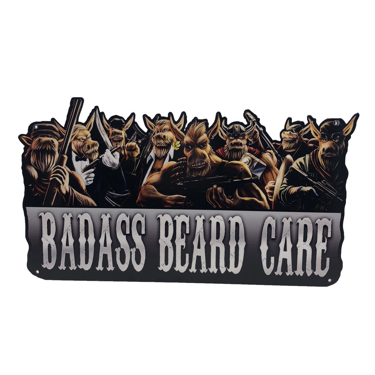 badass beard care garage sign