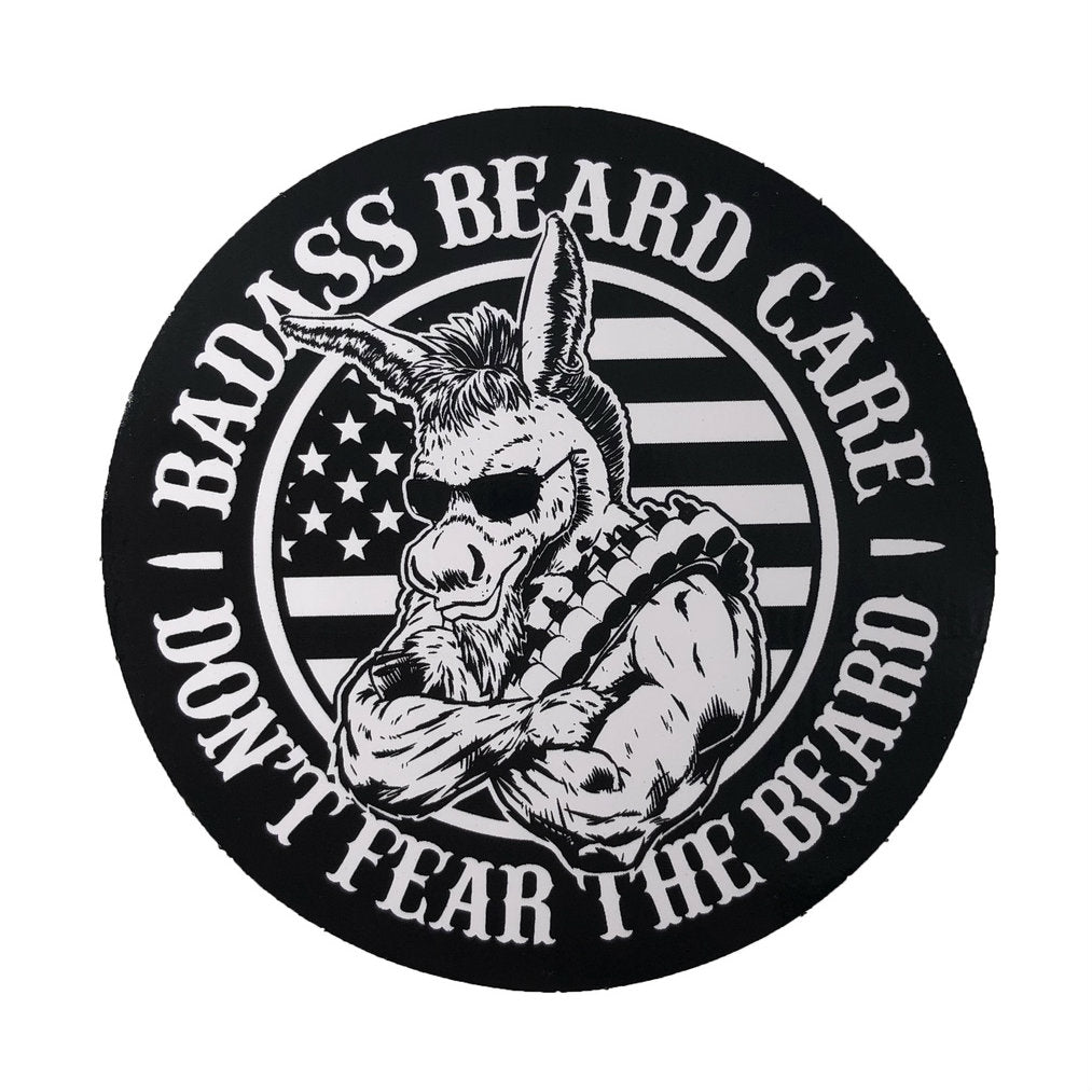 badass beard care vinyl sticker
