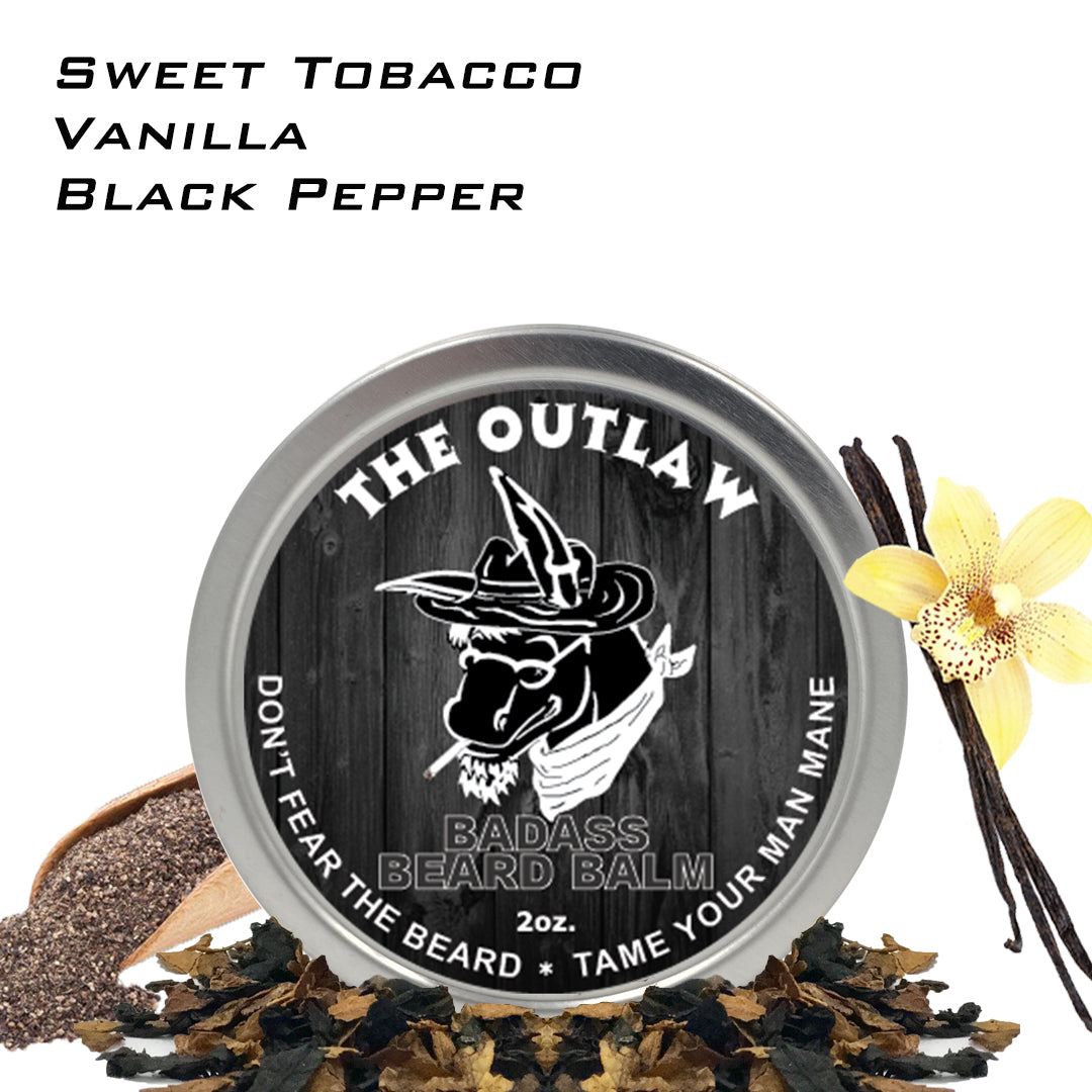 beard balm, badass beard care, the outlaw