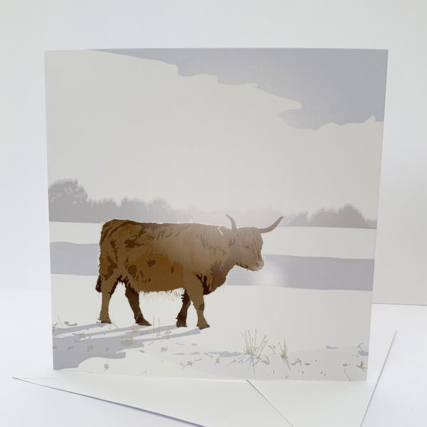 Highland Cow Snowy Blank Card
