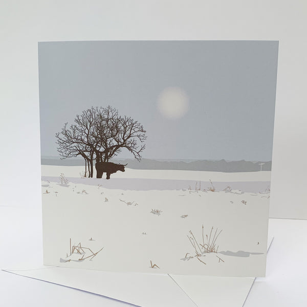 Cow and Tree Minchinhampton Common Snowy Blank Card