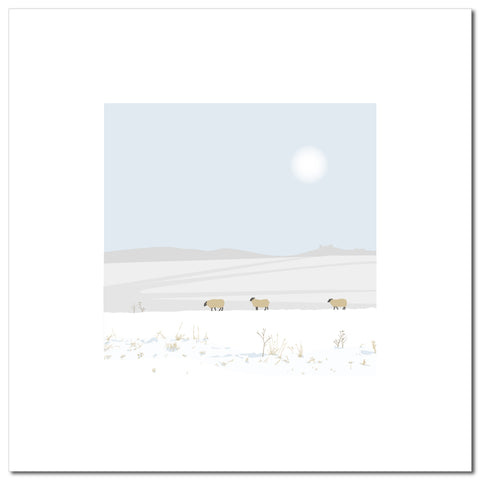 Three Sheep - Blue - Large